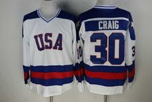 Hockey Jersey Vintage 1980 Miracle On Ice Team USA Jim Craig 30 Hockey Jersey Winter Sport Wear Wholesale Dropship(China)