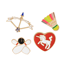 Bowling Bow Arrow Badminton Unicorn Red Heart Brooch Button Pins Coat T-shirt Jacket Pins for Bag Cartoon Sports Jewelry Gift