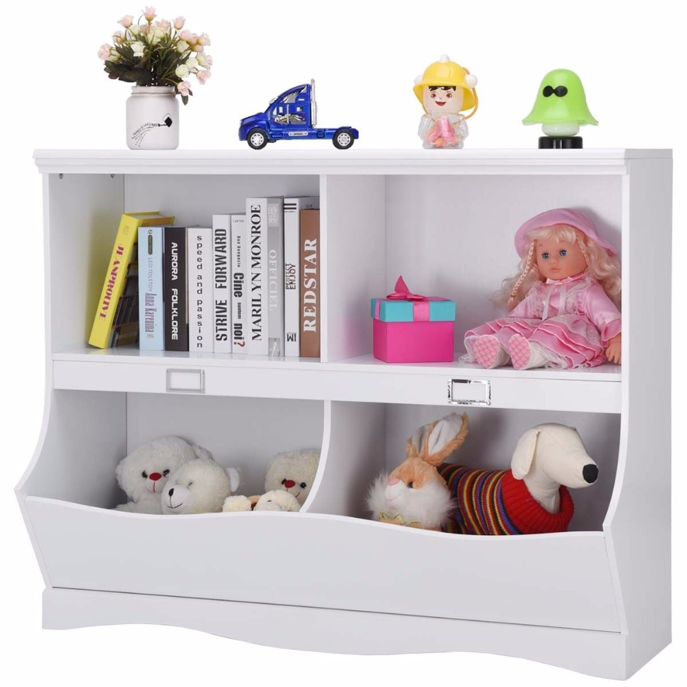 Children Storage Unit Kids Bookshelf Bookcase White Baby Toy Organizer Shelf Modern Furniture