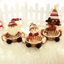Bamboo Christmas Candy Gift Storage Basket Decoration Santa Claus Storage Basket Merry Xmas Decor F913(China)