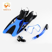 Professional scuba Diving mask Swim Fins with snorkel set adult swimming masks shoes long Snorkeling monofin Diving Flippers(China)