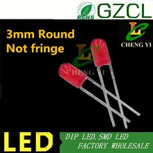 Without fringe DIP 3mm led DIFFUSED RED round 2-pin light diode 1.8-2.2V 1000PCS Free shipping