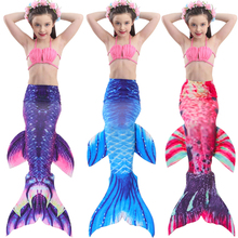 Sinomart 2017 Kids Girls Mermaid Tail for Swimming Bikini Set 3pcs Gradient Color Swimmable Sea-maid Bathing Suit Cosplay