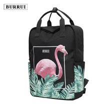 BURRUI New waterproof design square shoulder bag printed Flamingo backpack square leisure travel Maiden Totes Unisex Satchels(China)