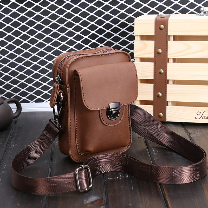2017 new fashion vintage men messenger bag brown crazy horse PU leahter bags summer mini phone bags men bag(China (Mainland))