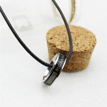 Korea POP Bigbang Leather Cord Titanium steel Change Color Loop Pendant Necklace Women Bag Men Jewelry Collares B212