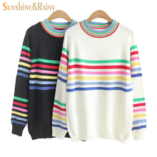 women fashion winter Autumn sweet stripe sweater rainbow stripe o-neck pullovers sweet ladies knitting cute sweater knit tops(China)