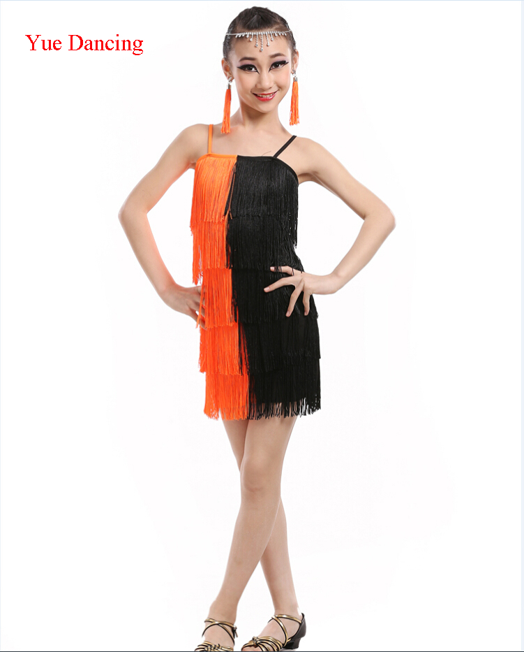 Paso Doble Dress Robe Salsa Dance Costume Girl Sexy Tango Dresses Children Charleston Fringe Dancing Dress Kids Ballroom Clothes