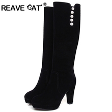 REAVE CAT New High heel knee-high boots Shoes woman Lady fashion boots Winter Casual Flock Rhinestone Platform Black Side RH3135