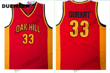 DUEWEER Mens Kevin Durant Jersey #33 Oak Hill High School Basketball Jersey Retro Kevin Durant Vintage Stitched Shirts Red(China)