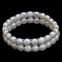 Buy 7inch Real Natural Freshwater Pearl Bracelet 2rows Multilayer Jewelry Genuine White Pearl Bracelet Bangles women Wedding Gifts for $5.89 in AliExpress store