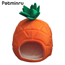 Petminru Pet Cat House Foldable Soft Winter Dog Bed Pineapple Shape Dog House Cute Kennel Nest Dog Warm Cat Bed(China)