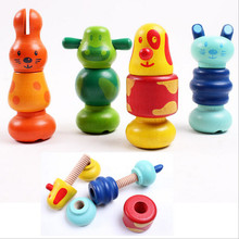 Cartoon Animal Screw Blocks Wooden Nut Assembling Blocks Kid's Children Educational Nut Combination Toys DW992367(China)