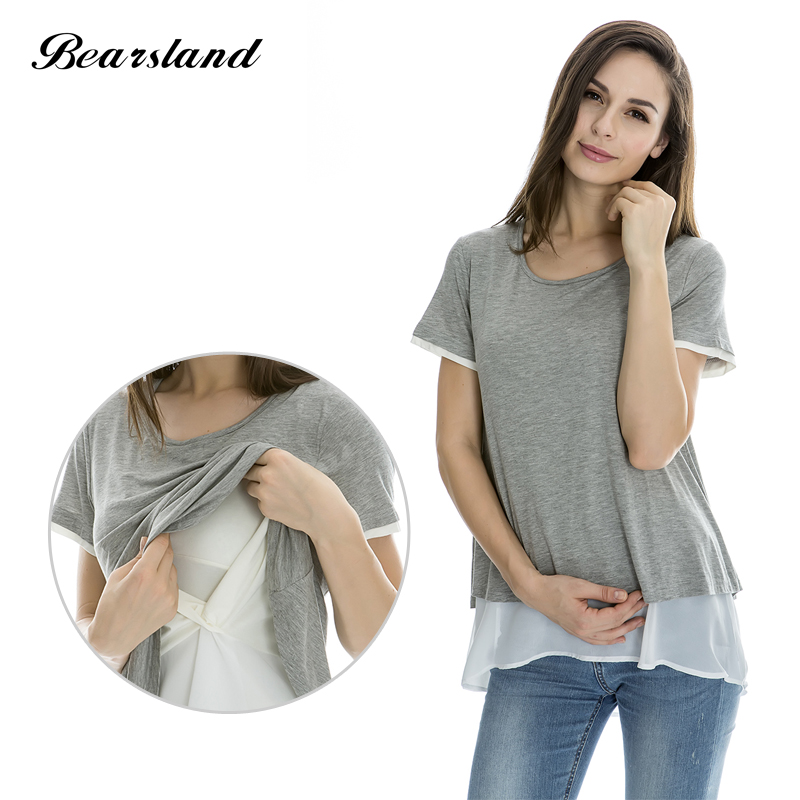 Maternity Nursing Tops Breastfeeding clothes for Pregnant Women Fashion False two Pieces Chiffon Double Layer Summer Tee 3 color<br>