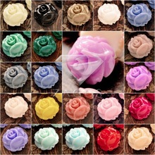 20/24Pcs Resin Vintage Style Rose Flowers Flat Back Cabochon 10x10x6mm For Jewelry Making Accessories Wholesale RB0740(China)