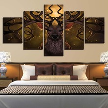 HD Printed Canvas Posters Frame Home Decoration Wall Art 5 Pieces Animal Deer Antlers Painting Modular Pictures For Living Room(China)