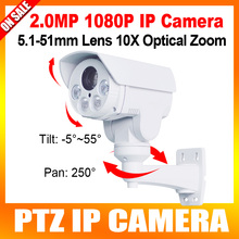 1080P IP PTZ Camera 10X Optical Zoom 5.1-51mm Lens Pan/Tilt Rotation Array IR 80M 2MP Bullet IP Camera,Built-in SD Card Slot
