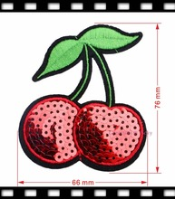 1pc Cherry Sequins Embroidered  Patches Fruit Iron On Patch Sew On Applique Hotfix Motif For Garment New 76*66mm