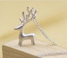 Jisensp Fashion Jewelry Animal Deer Necklace for Women Long Chain Pendant Necklace Christmas Gift SYXL008