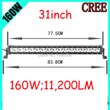 Free UPS ship!31inch 160W 11200LM,1pcs/set,10~30V,6500K,LED working bar,Boat,Bridge,Truck,SUV Offroad car,black!20W 100W