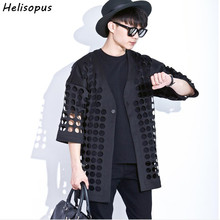 Helisopus 2018 Hollow Mesh Cape Coat Korean Style Fashion Trendy Cardigan Jacket Black Loose Trench(China)