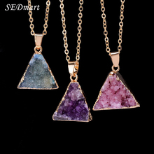 SEDmart Geometric Triangel Druzy Quartz Natural Stone Pendant Necklace Healing Crystal Cluster Raw Stone Chain Necklace Women(China)
