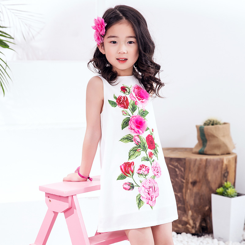 Girls Rose Flower Dress Summer 2017 Brand Handmade Children Princess Costumes Kids Dresses Robe Enfant Girls Clothes<br>