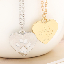 New Fashion Simple Style For Pet Lover Necklaces Gold/Silver Plated Heart Pendant Lovely Puppy Paw Print Necklaces For Women(China)