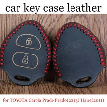 discount price Car key case Hand sewing car key covers DIY Genuine leather for TOYOTA Carola Prado Prado(2013) Haice(2011)(China)