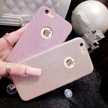 For iPhone 5 5S SE 6 6S 7 Plus Glitter Powder Ultra Thin Soft TPU Phone Case Back Cover For Samsung Galaxy S6 S7 Edge Cases Bags