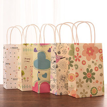 20 pcs Birthday,Wedding Paper gift bag,22*13.5*8 CM Flower,Heart,Happy time design Paper gift bag with handle(China)