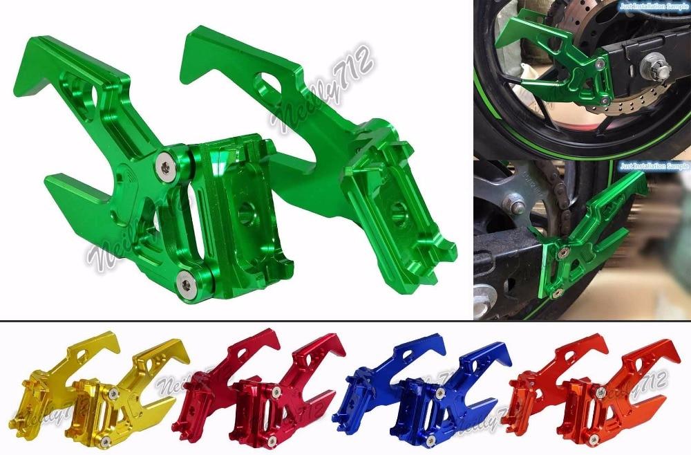 waase Chain Adjusters Rear Stand Pick Up Hook Set For Kawasaki Ninja 250SL 2015 2016 2017<br>