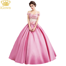 iGown Brand 2017 New Luxury Pink Satin Lace Flower Prom Dress The Bride Sweet Appliques with Beading Beauty Evening Party Gowns