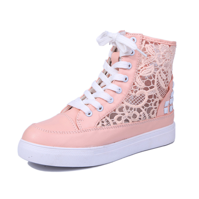 Lace stitching women muffin canvas shoes soft bottom student mesh shoes breathable lace up hip-top shoes cute femmeDT577<br><br>Aliexpress