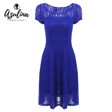 AZULINA Black Blue Red Floral Lace Summer Dress Women Short Sleeve Casual Mini Party Dress 2017 Plus Size vestidos robe femme