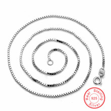 Visisap 100% 925 Sterling Silver Box chain for pendants 40mm*0.65mm wholesale wedding chains For Women fine jewelry VCYP003