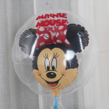 1 P New lovely Mickey Minnie transparent balloons Mickey Mouse The ball in the ball Aluminum film ball Birthday party decoration