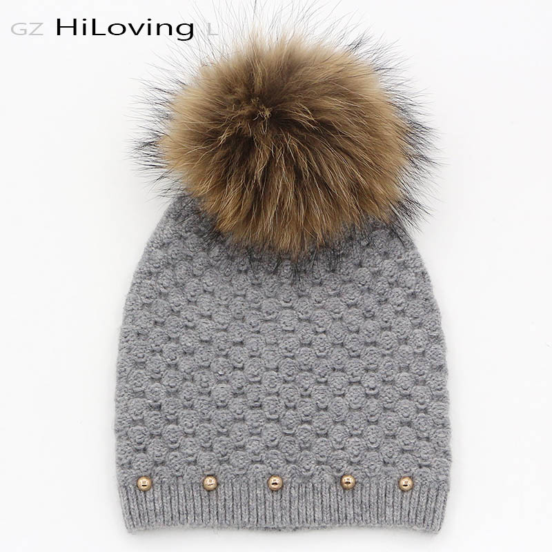 GZHilovingL Brand Winter Autumn Fashion Elegant Women Wool Knitted Beanies Caps Real Raccoon Fur Pompom Beanie Hats For WomenОдежда и ак�е��уары<br><br><br>Aliexpress
