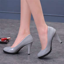 Women's shoes spring new sexy high-heeled banquet shoes round with thick shoes comfortable professional women's high heels(China)
