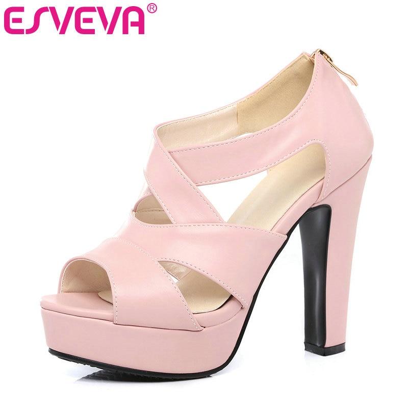 ESVEVA 2017 Sexy Peep Toe White Gladiator Summer Women Shoes Thick High Heel Woman Pumps Zipper Wedding /party Shoes Size 34-43<br>