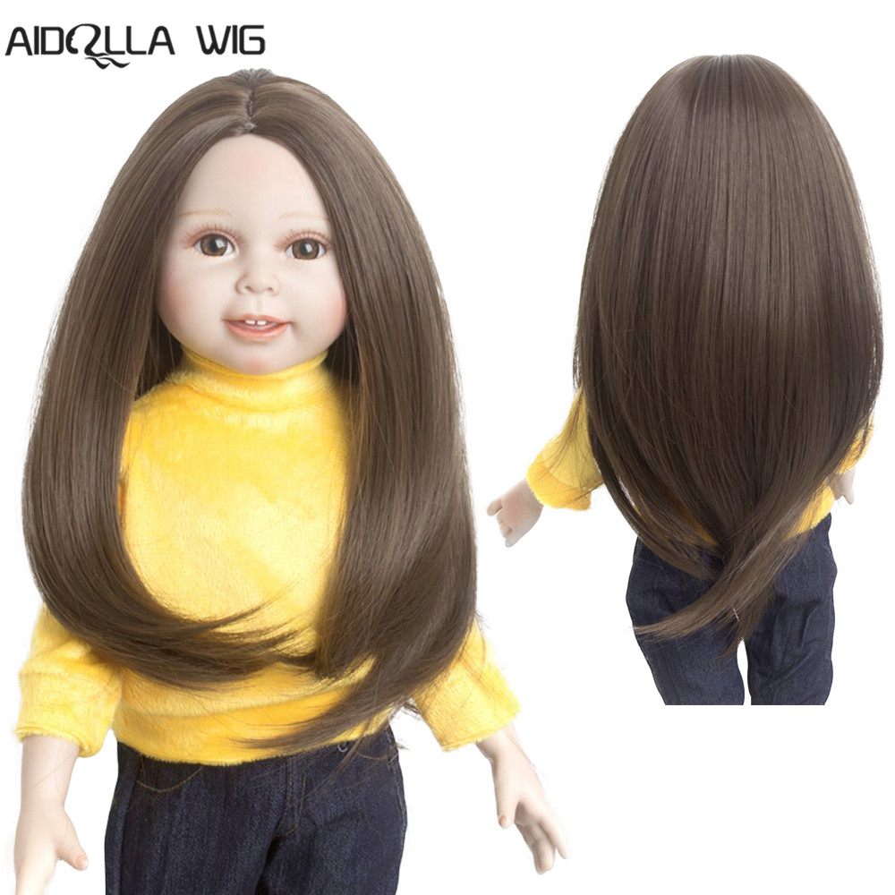 28cm Fashion Long Curly Wig for 18inch American Doll DIY Accessory Golden