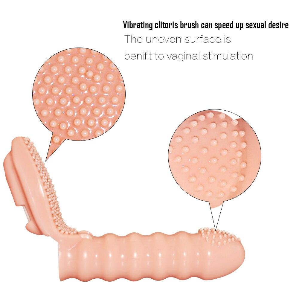 _04Finger Vibrator Sex Toys For Woman Clitoris Stimulator Brush Vibrating Finger Sleeve G Spot Vibrator Sex Products