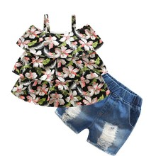 tz1140 kimocat Girl's Clothing Jeans Set Kid's Clothes Cotton O-Neck Sleeveless Floral Dress Children Clothing Suits Shirt+Pants(China)