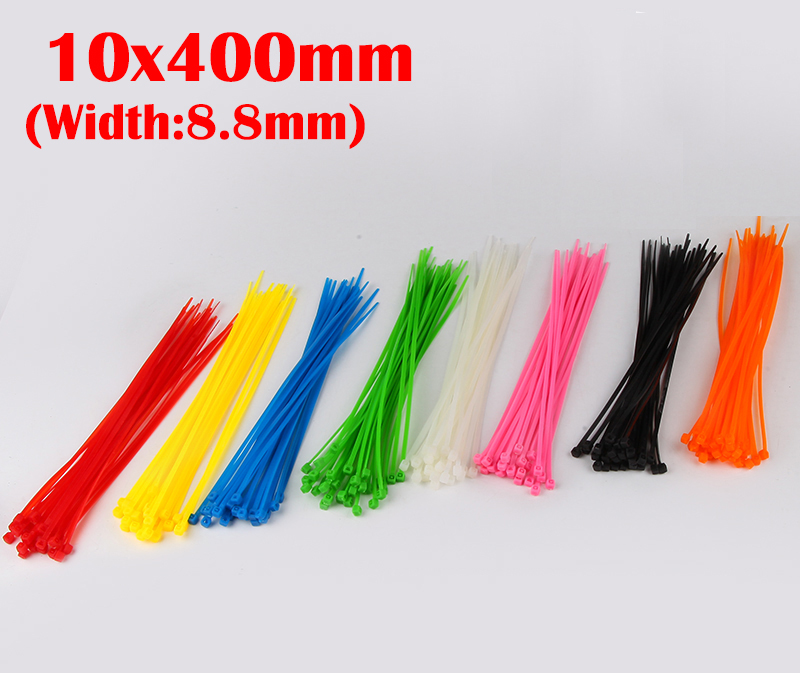 100pcs 10x400 10*400mm (8.8mm Width) Black White Green Nylon66 Network Electric Wire String Zip Fastener Self-Locking Cable Tie<br><br>Aliexpress