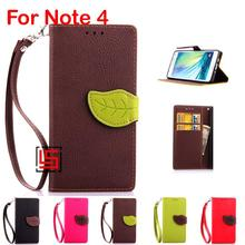 Leaf Clasp PU Leather Leathe Flip Book Wallet Phone Cell Case shell Cover For Samsung Samsug Galaxy Galaksi Galaxi Note 4 Brown