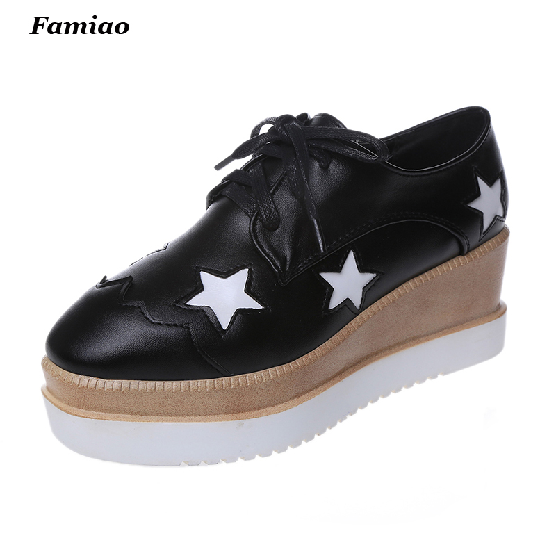 2017 Shoes Woman Platform Oxfords Brogue Flats Shoes Pu Leather Lace Up Brand Womens Creepers<br><br>Aliexpress