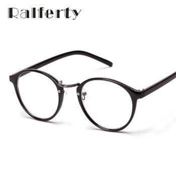 Ralferty Moda Do Vintage Miopia Óculos Óptica Quadros Utra-luz Círculo das Mulheres Óculos De Armação Com Lentes Redondas Óculos Preto 137