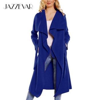 De JAZZEVAR 2016 nueva primavera de la moda/Casual de las mujeres mezcla de lana Capa de Foso larga Prendas de Vestir Exteriores floja ropa para dama de buena calidad