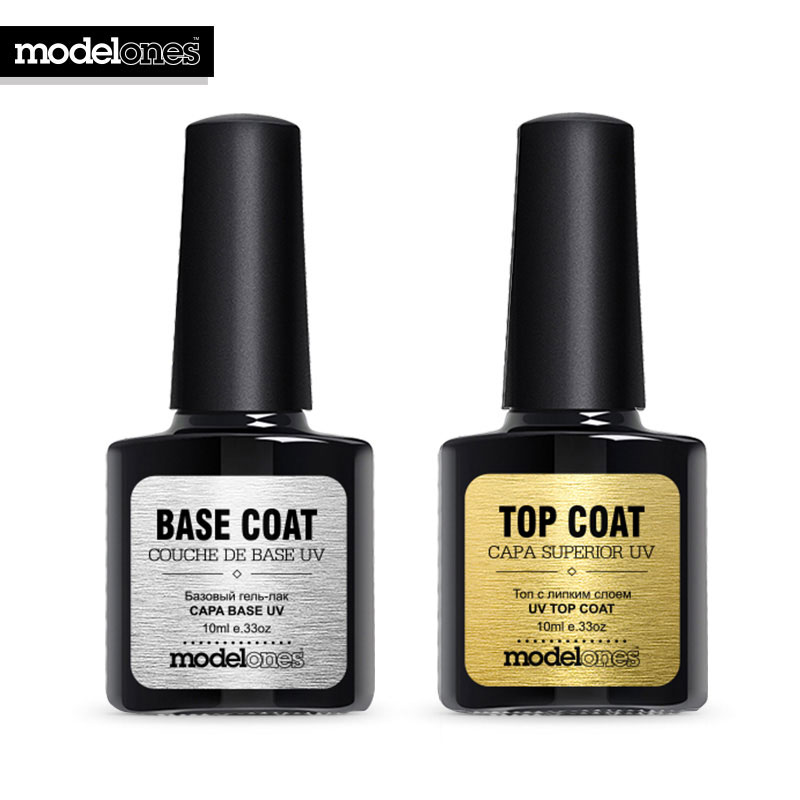 Modelones New Nail Gel Polish Soak Off UV Top Coat + Base Coat Gel Polish Long-lasting 10ml Nail Gel Lacquer(China (Mainland))