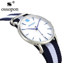 OSSOPON Womans' Watch 316L Stainless Steel Super Simple Deep Blue Nylon Cheap Watches China Discounts Schocker Xfcs Quartz-Watch(China)